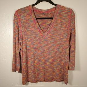 One Girl Who Anthropologie multicolor 3/4 sleeve L